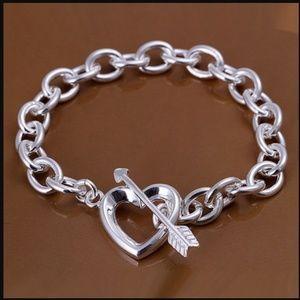 Jewelry - Cupids Arrow Heart Sterling Silver Toggle Bracelet